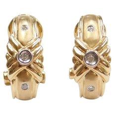 14k Gold Diamond Omega Back Hoop Earrings