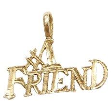 14k Gold #1 Friend Charm / Pendant