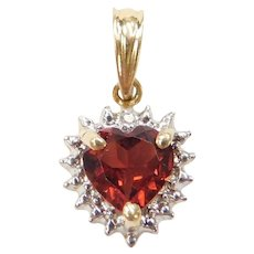 14k Gold Garnet and Diamond Heart Pendant Two-Tone
