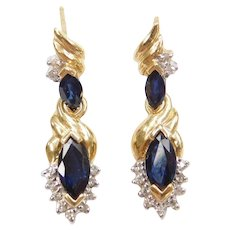 14k Gold Sapphire and Diamond Earrings Two-Tone