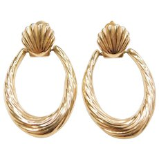 14k Gold Earrings with Nautical Shell Tops