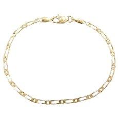 """7"""" 14k Gold Fancy Figaro Link Bracelet"""