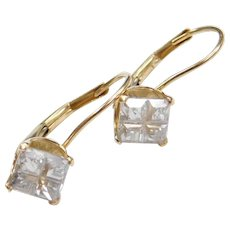 14k Gold Faux Diamond Lever Back Earrings
