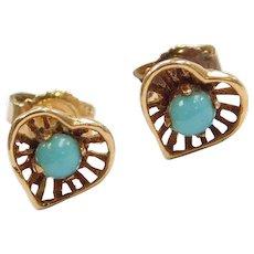 14k Gold Turquoise Heart Stud Earrings