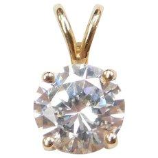 14k Gold Faux Diamond Solitaire Pendant