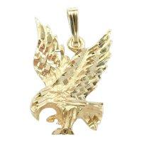 Flying Bald Eagle Pendant 14k Gold