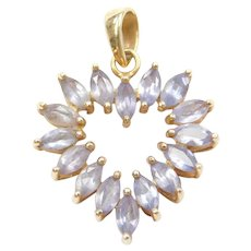 14k Gold Iolite Heart Pendant
