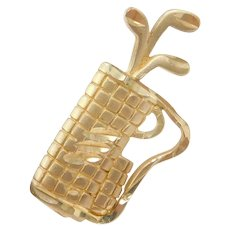 10k Gold Golf Bag and Clubs Tie Tack