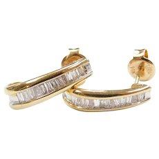 14k Gold Diamond Baguette J Hoop Earrings
