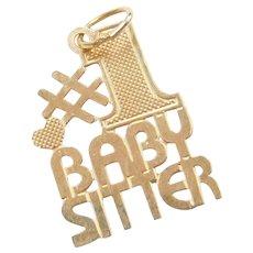 14k Gold #1 Babysitter Charm