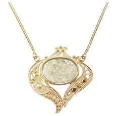 "17"" Roman-Era Glass Filigree 14k Gold Necklace"