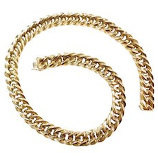 """18"""" 14k Gold Chunky Hollow Link Chain Necklace ~ 60.8 Grams"""