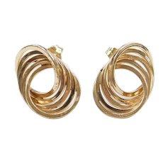 14k Gold Circle Stud Earrings