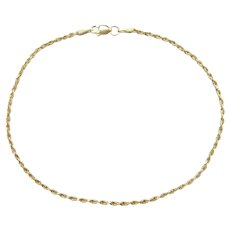 """Diamond Cut Rope Anklet 14k Gold 9 1/8"""" Length, 2.6 Grams"""