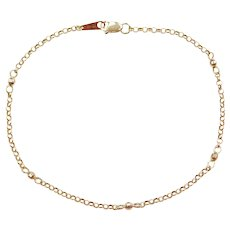 "9"" 14k Gold Diamond Cut Bead and Rolo Link Anklet"