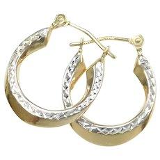 Small Diamond Cut Hoop Earrings 14k Gold Two-Tone