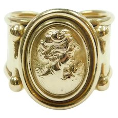 Repousse Cameo Ring 14k Gold