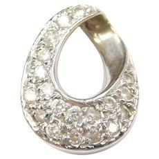 14k Whit Gold Diamond Pendant