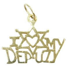 I Love (Heart) My Deputy Charm / Pendant 14k Gold