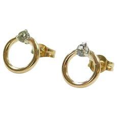 Faux Diamond .05 ctw Circle Stud Earrings 14k Gold