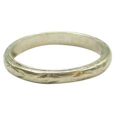 Vintage Etched Wedding Band Ring 18k White Gold