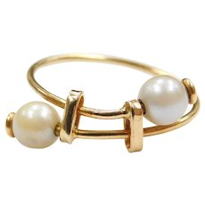 18k Gold Cultured Pearl Bypass Ring