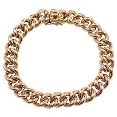 """Vintage 18k Gold Heavy Curb Link Bracelet ~ 7 1/2"""" ~ 74.3 Grams"""