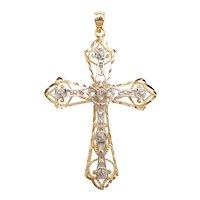 Filigree Religious Cross Pendant 14k Gold Two-Tone