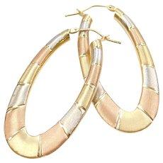 18k Gold Tri-Color Hoop Earrings