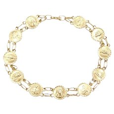 """7 3/4"""" 14k Gold Religious Bracelet"""