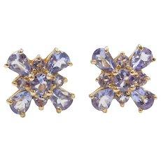 14k Gold Iolite Stud Earrings