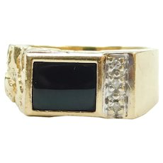 Gents Black Onyx and Diamond .03 ctw Nugget Ring 10k Gold ~ Men's