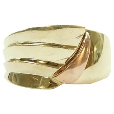 Wide Fashion Band Ring 14k Rose and Yellow Gold Two-Tone