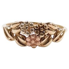Daisy Flower and Leaf Ring 10k Gold Tri-Color