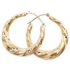 Twisted Hoop Earrings 14k Gold