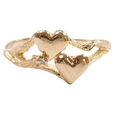 Diamond .01 Carat Double Heart Ring 14k Gold
