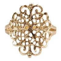 Ornate Filigree Fashion Ring 14k Gold