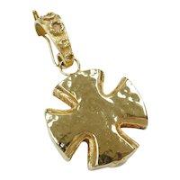 Hollow Hammered Maltese Cross Enhancer Pendant 14k Gold