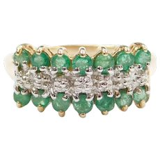 10k Gold Two-Tone Natural Emerald and Diamond Ring