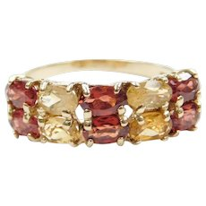 10k Gold Double Row Garnet and Citrine Ring