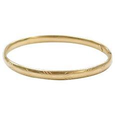 """6 3/4"""" Etched Hinged Bangle Bracelet 14k Gold"""