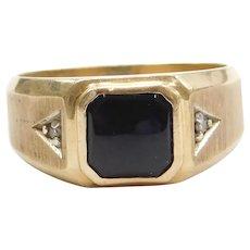Men's 10k Gold Onyx and Diamond Ring
