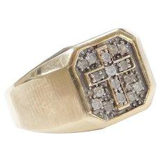 10k Gold Men's Diamond Cross Ring