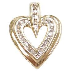 10k Gold Two-Tone 1/4 ctw Diamond Heart Pendant