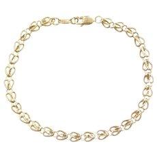 """7 1/2"""" 10k Gold Heart Bracelet"""