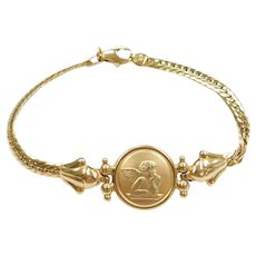 """7"""" 14k Gold Angel / Cherub Bracelet"""