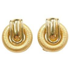 18k Gold Omega Back Circle Earrings