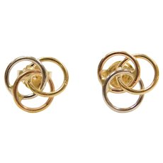 18k Gold Tri-Color Trinity Knot Stud Earrings