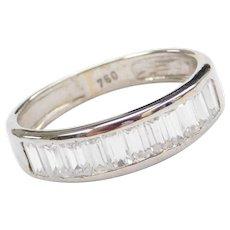 18k White Gold Faux Diamond Baguette Band Ring