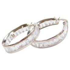 18k White Gold Faux Diamond Baguette Hoop Earrings